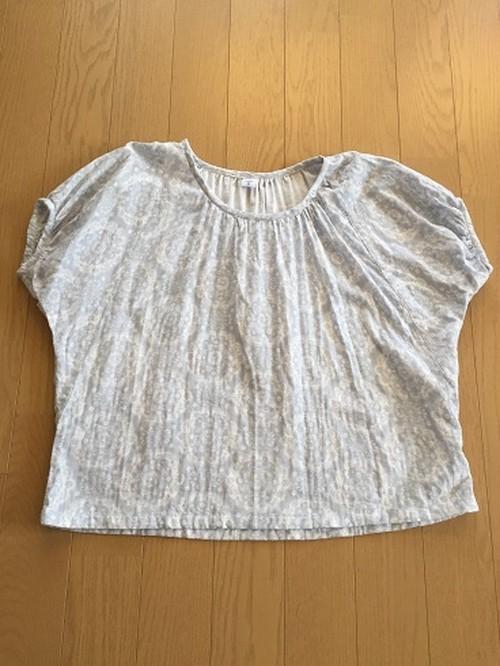 ブルーグレーWガーゼの変わり袖ブラウスM~L