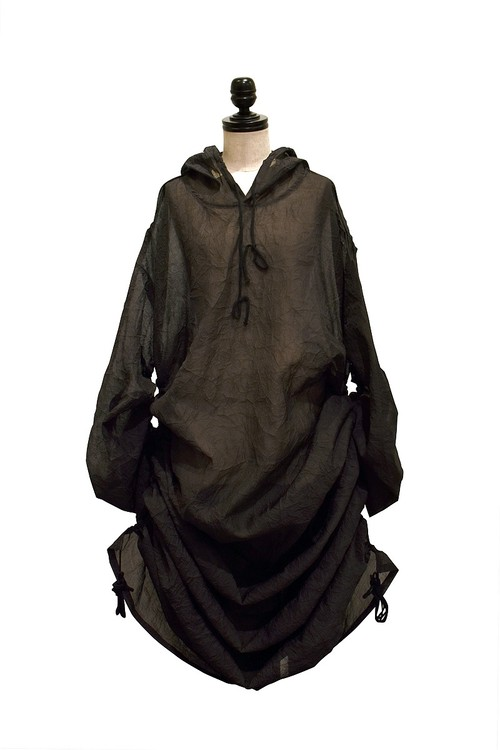IKUMI / SEE THROUGH HOODIE / BLACK