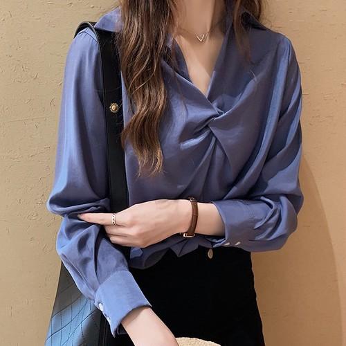 【トップス】ファッションギャザー飾り折り襟Vネック無地シャツ28374475