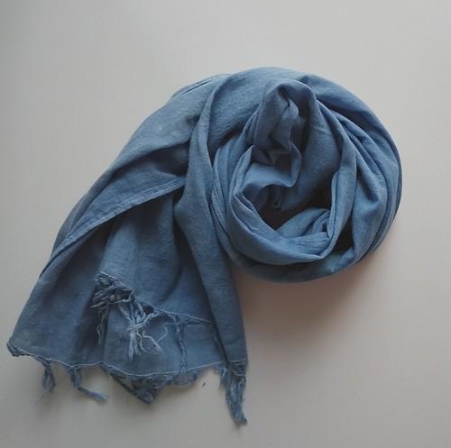 訳アリ ふんわり柔らか♪コットンガーゼストール 草木染め 藍染め*