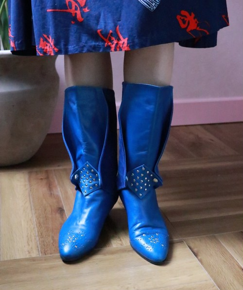 80's blue studs boots