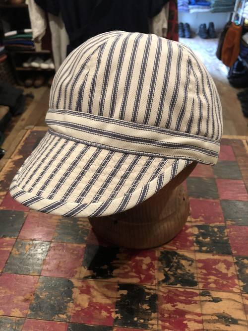 「BRACKETS」 remake cap using vintage stripe fabric