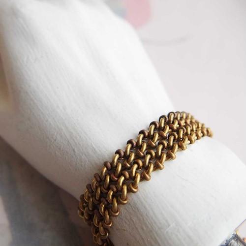 1980's 真鍮製、編み込みとビーズのチェーン(20センチ)