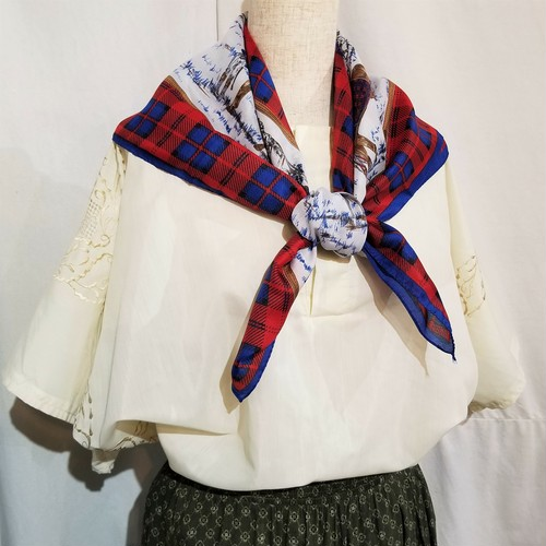 Check & horse racing pattern scarf /Made In Italy [c-419]
