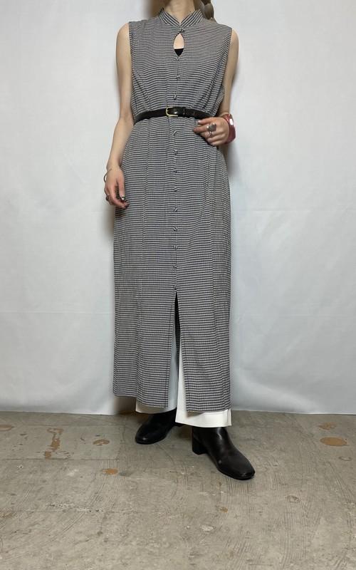 high-necked sleeveless one-piece