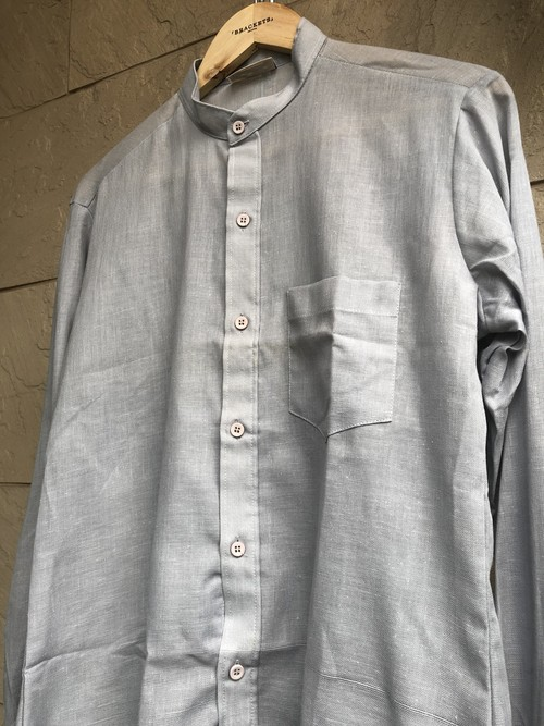 Deadstock British stand collar shirts blue gray color