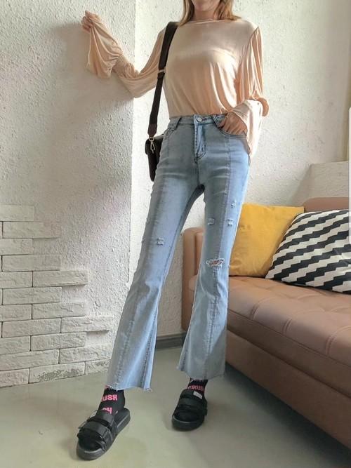 予約注文商品 カッティングブーツカットデニム デニム ブーツカット 韓国ファッション