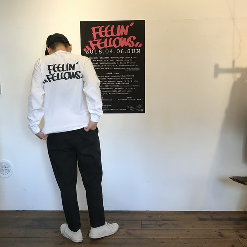 FEELIN' FELLOWS L/S TEE (WHITE x BLACK)