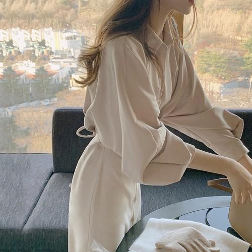 シャツワンピース 長袖 ロング丈 韓国 ファッション レディース オルチャン 春 秋 シンプル 大人カジュアル