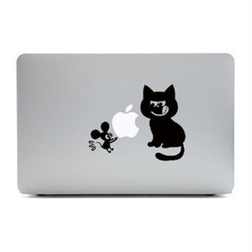 MacBook Air11インチ用背面デザインステッカー「猫とねずみ」
