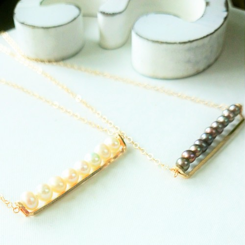 送料無料14kgf♡AA+pearl line bar necklace