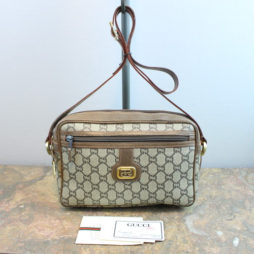 .OLD GUCCI PLUS GG PATTERNED SHOULDER BAG MADE IN ITALY/オールドグッチプラスGG柄ショルダーバッグ 2000000033891