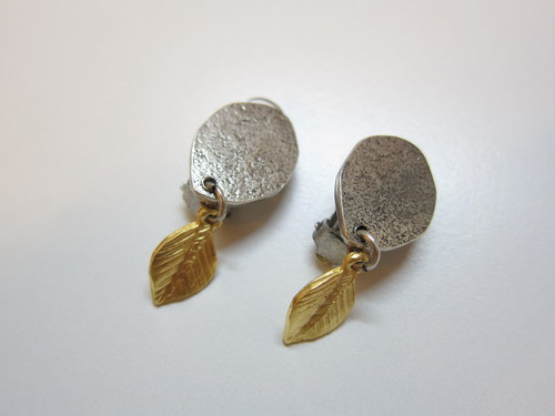 (IKUO)silver×gold leaf イヤリング(ピアス)