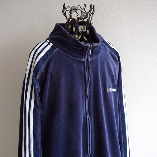 2000's [adidas] 3ストライプス ベロアトラックジャケット ネイビー×ホワイト 表記(2XL) アディダス