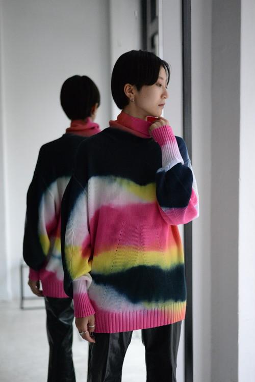 AKIKOAOKI / Impulsive knit (pink×yellow×navy染)