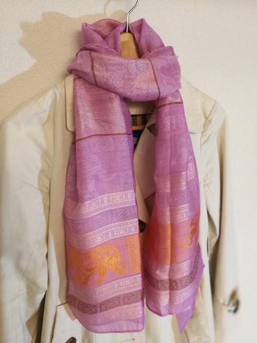 タイシルク スカーフ ピンク