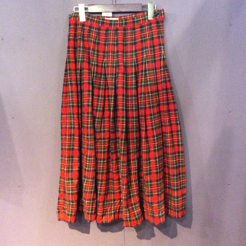 70's red check pleats skirt [B1457]