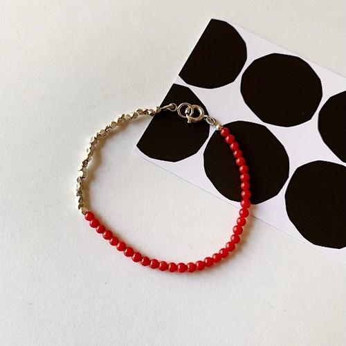赤珊瑚×カレンシルバーのブレスレット