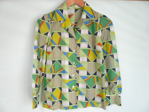 昭和 レトロ ビンテージ 幾何学柄 コットンシャツ OLD /60s 70s 80s ヒッピー ボヘミアン