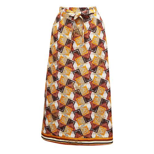Iラインスカート 「かざぐるま」 イエロー x ブラウン x ホワイト / アフリカン エスニック ガーナ服 パーニュ バティック