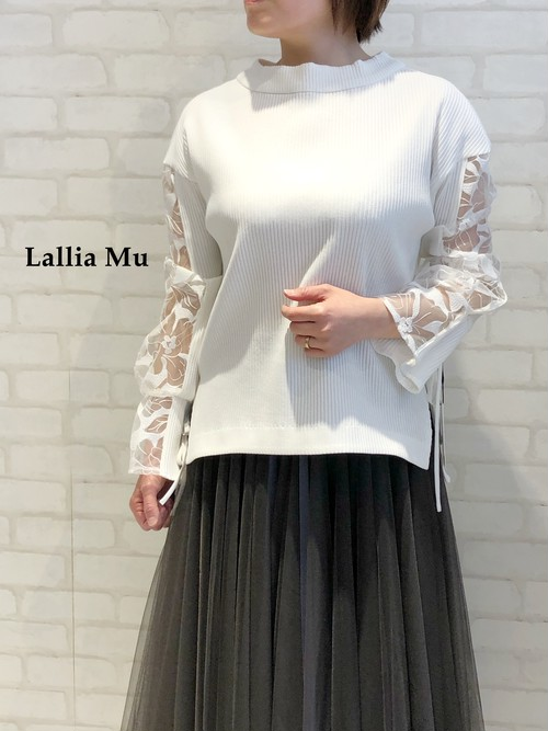 Lallia Mu/袖チュールレーストップス/2111435