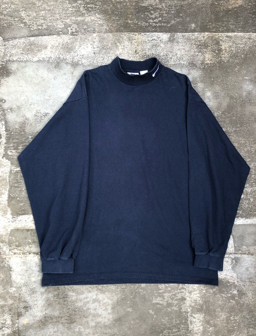 USED / 90's nike logo embroidery L/S -navy×white-