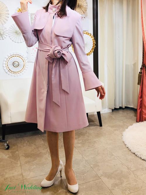 パールボタン コート エレガント ストレッチ素材 ピンク