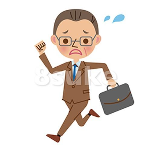 イラスト素材:慌てた様子で走る中年ビジネスマン(ベクター・JPG)
