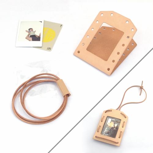 ヌメ革(生成り)のパスケース&チェキフレーム【nuː/ぬー】 #手作りキット #刻印可