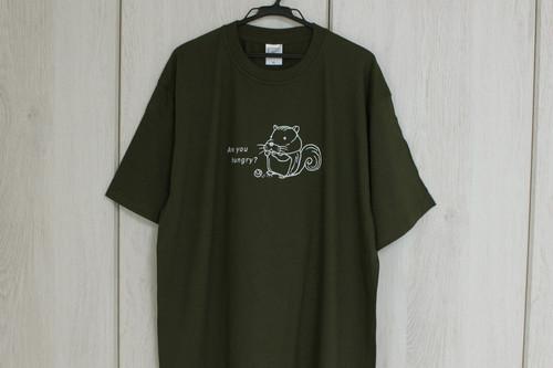 極厚ビッグTシャツ★綿100%★リス★ダークオリーブXL