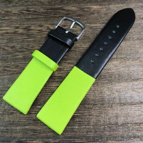 BAMBI カラーブロック 2トーン ストラップ  ブラック/アップルグリーン 20mm 腕時計ベルト