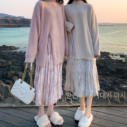 【送料無料】セットアップ♡ オーバーサイズ スリット ふわふわ ニット ×  ロングスカート