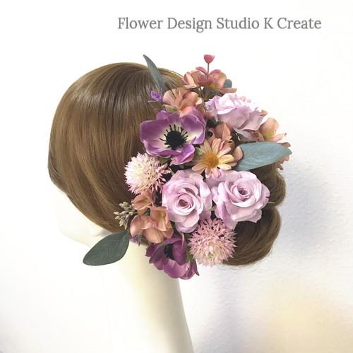 秋色の薔薇とアネモネのヘッドドレス(14本セット) ピンク マーガレット 10月 秋色 結婚式 ウェディング 髪飾り