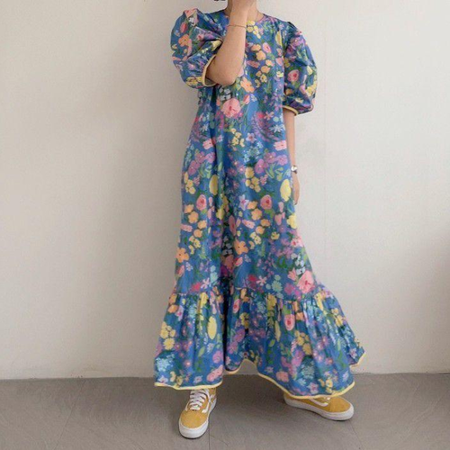 【dress】売り切れ必至カジュアルラウンドネックパフスリーブワンピース2色