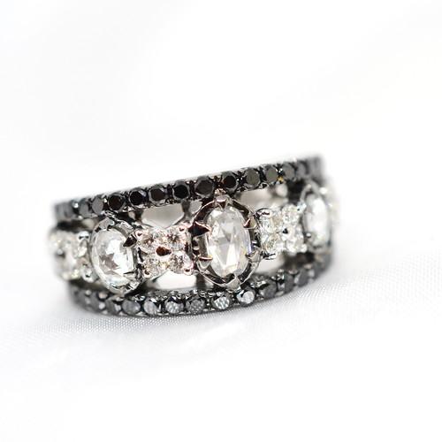 1点物 K18WGローズカットダイヤとブラックダイヤモンドのリング#13号