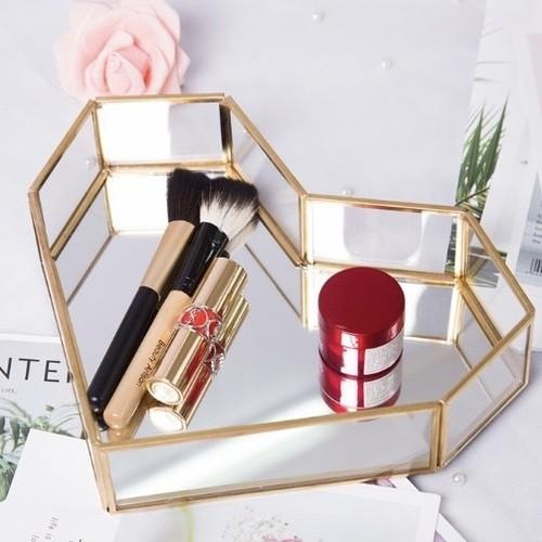 gold flame heart shape mirror tray / ゴールドフレーム ハート ミラートレー