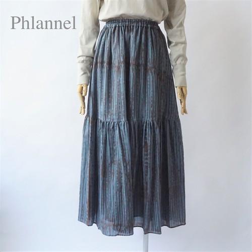 Phlannel/フランネル・African Stripe Cotton Wool Viyella Tiered Skirt