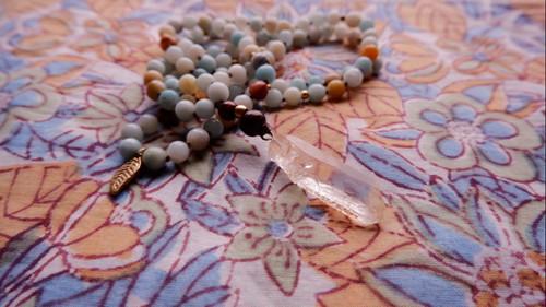 Japa Mala : Crystal Quartz Natural Point & Amazonite