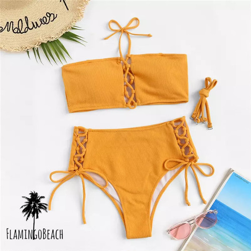 【FlamingoBeach】yellow high west bikini ハイウェストビキニ