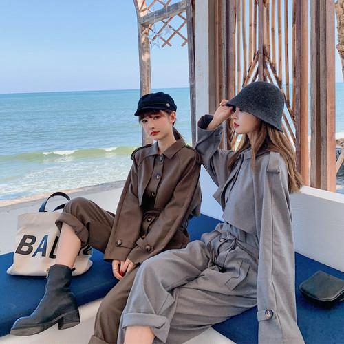 フロントボタントレンチジャンプスーツ 韓国ファッション