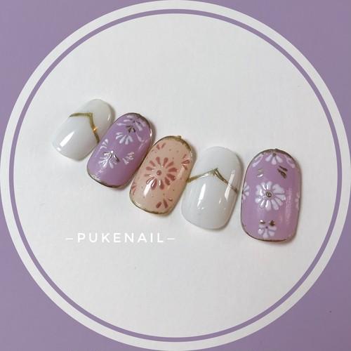 Pukeネイル [No.95]フラワー☆パープル♡可愛いネイル♡ジェイルネイルチップ