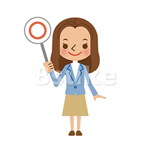 イラスト素材:若い女性のまる・正解・OKイメージ(ベクター・JPG)