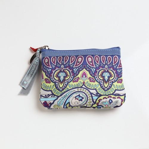 横浜のシルクスカーフを使ったポーチ【キー&コインケース】ブルーペイズリー