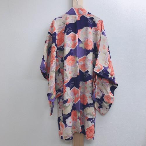 B25 羽織り②  ~ ビンテージ、花、着物、和装、紫、オレンジ、長羽織   ~