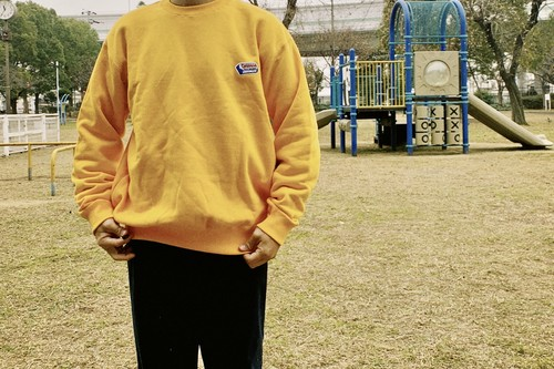 Embroidery logo Sweat【Gold / Navy】