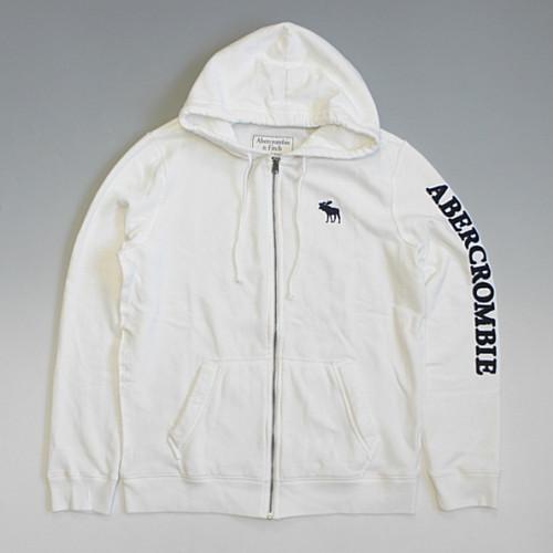 Abercrombie&Fitch アバクロンビー&フィッチ ピンストライプ ビッグムース ワッペン袖ロゴ フルジップ スウェットパーカー ホワイト