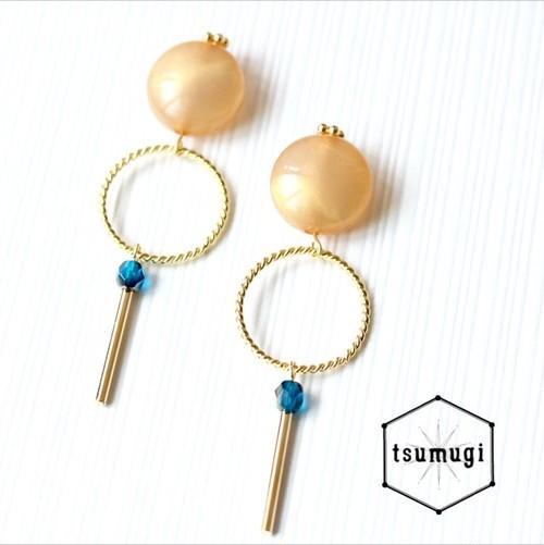 シンプルオレンジピアス【金具交換可】