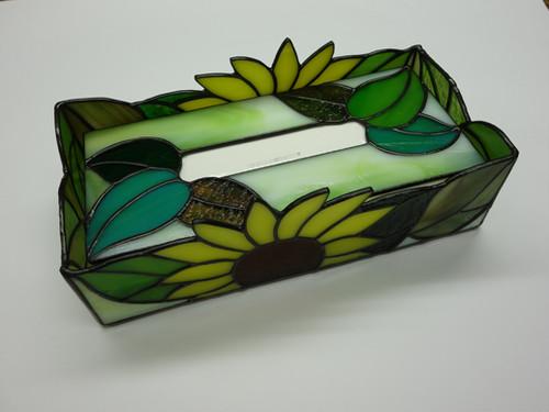 ステンドグラスヒマワリデザインのテッシュボックス