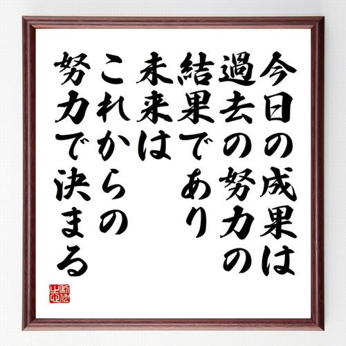 名言書道色紙『今日の成果は過去の努力の結果であり、未来はこれからの努力で決まる』額付き/受注後直筆(千言堂)Z3759