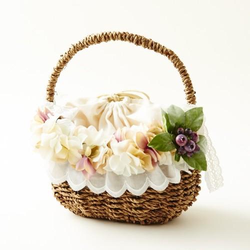 おでかけが楽しくなる♪ボタニカル風花かごバック・巾着付